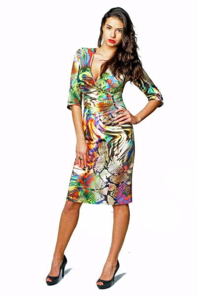WORK DRESS PARTY STRETCH SEXY V-NECK MADE IN EUROPE ELBOW SLEEVE PRINTED
