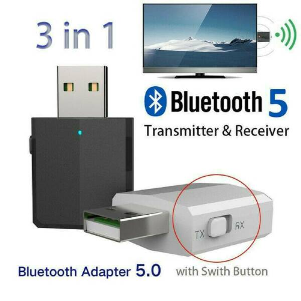 3 in 1 USB Bluetooth 5.0 Audio Transmitter Receiver Adapter For TV PC Car Grace $8.48