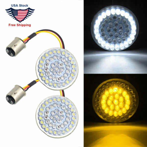 Amber White 1157 LED Turn Signal Light Inserts For Harley Touring Electra Glide