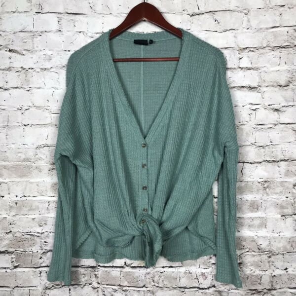 Out From Under Small Jojo Top Button Front Green Long Sleeve Waffle Knit Casual $29.97