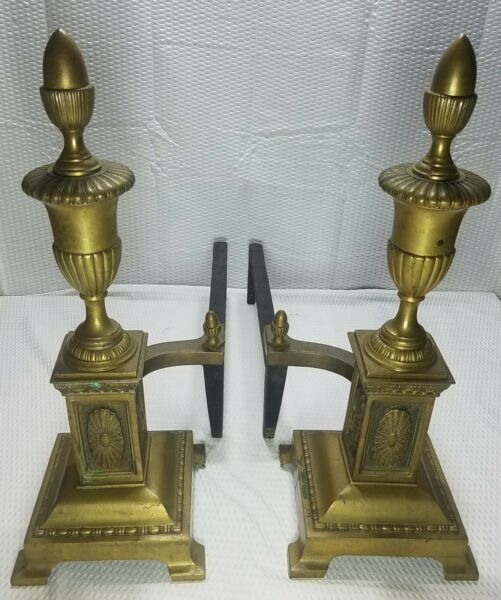 Vintage Heavy Bronze & Cast Iron Fireplace Andirons Early American   Rare Style