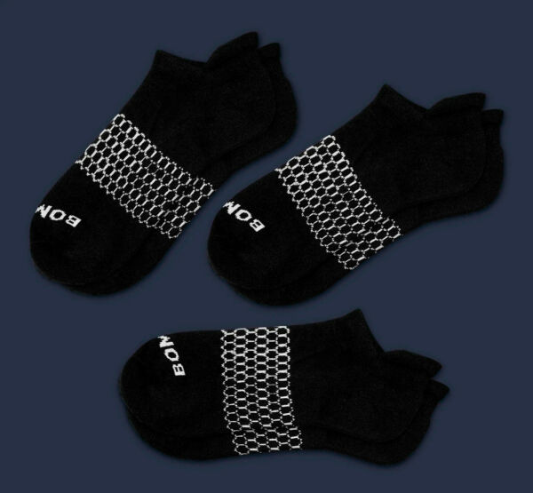 3 Pack Bombas Men#x27;s Ankle Socks Black Honeycomb LARGE 7 12 NWT