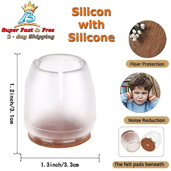 Silicone Chair Leg Caps Silicone Round Feet Furniture Table Protector 32 Pack