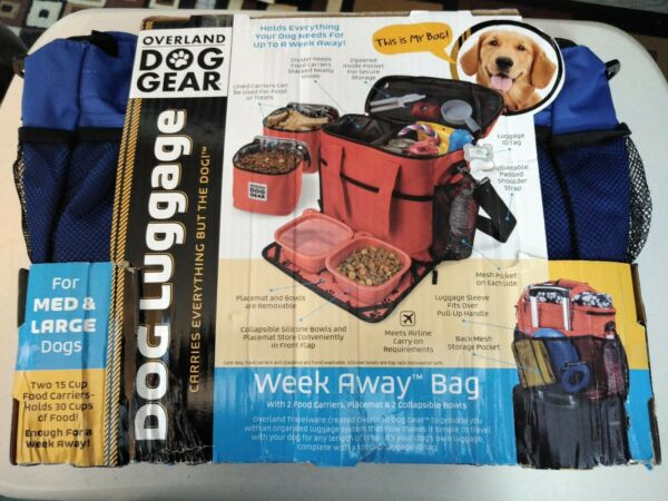 Dog Gear Week Away Bag for Med Lg Dogs w 2 Food Carriers amp; 2 Collapsible Bowls $35.99
