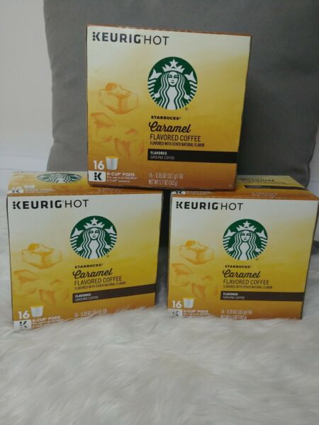 Starbucks Caramel Flavored Keurig Cups 3 Boxes 16 Pods Each