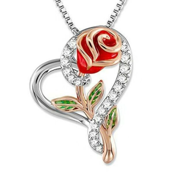 Mothers Day Gift Rose Flower in Heart Pendant Necklace Mom Wife Daughter Jewelry