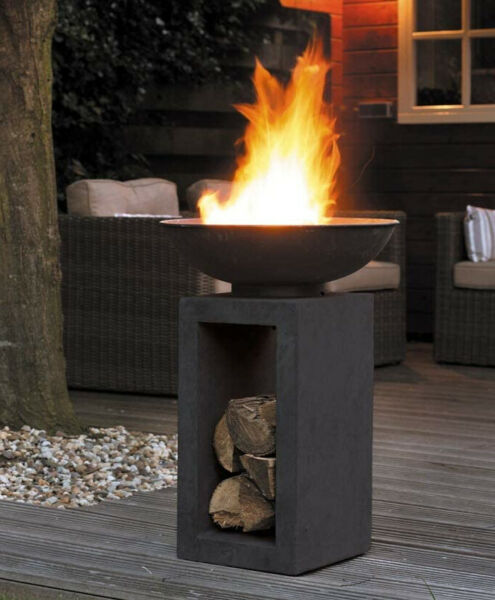 Outdoor Fire Pit Column Tower Wood Burning Fireplace Steel Bowl Logs Concrete