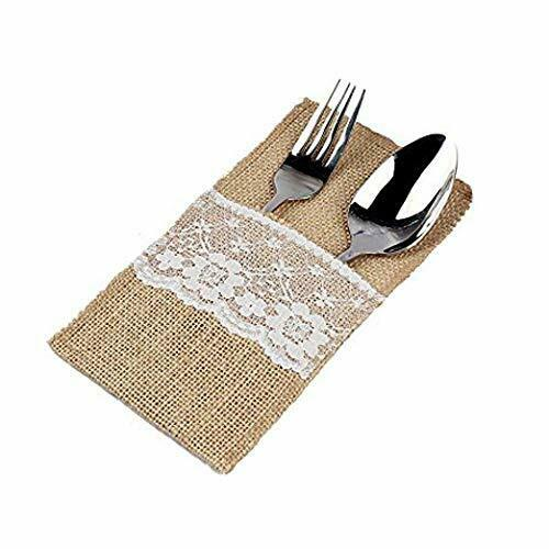 sexyrobot Natural Burlap Lace Utensil Holders Silverware Napkin Cutlery Pouch Kn