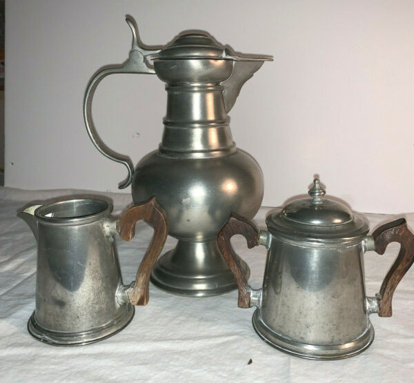 Stieff Colonial and Italian Pewter Pitcher sugar creamer with wooden handles