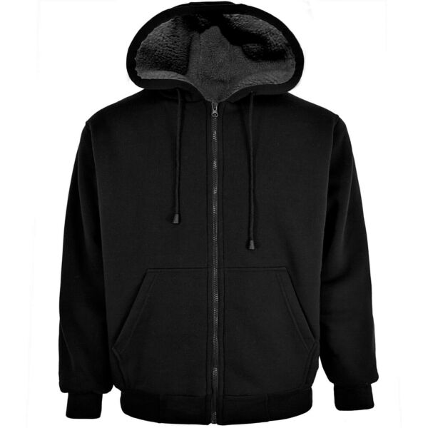 Victory Outfitters Men#x27;s Fleece Zip Up Hoodie with Heavy Duty Sherpa Lining