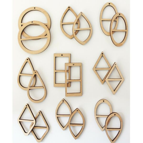 18 Unfinished Wood Two Frame Earrings Jewelry Blanks Cutout Resin Macrame Crafts
