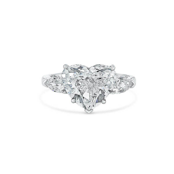 5.76Ct Brilliant DVS2 Diamond Ring Classic Heart Cut Natural 18K White Gold GIA