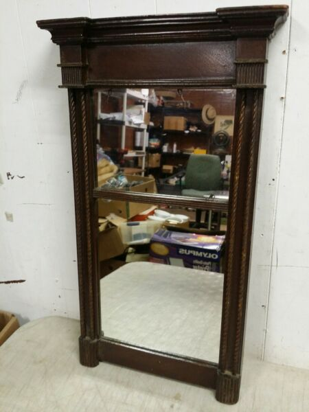 Antique Federal Wall Mirror Carved Mahogany Wood 22x13 Divided