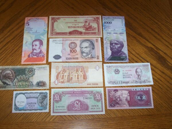 Lot of 10 Different World Bank Notes from Different Countries C1