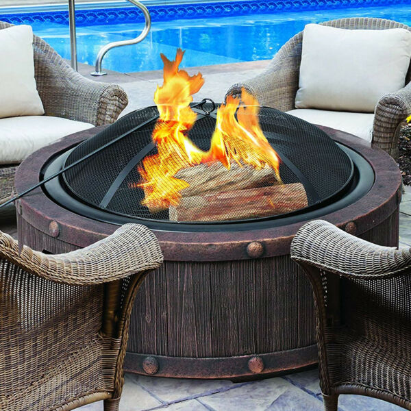 Outdoor Fire Pit Round Bowl Wood Burning Fireplace Cast Stone Rustic Portable