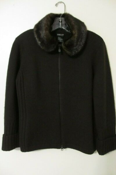 Willi Smith Women's Sweater Cardigan Brown Wool Removable faux fur Collar LARGE