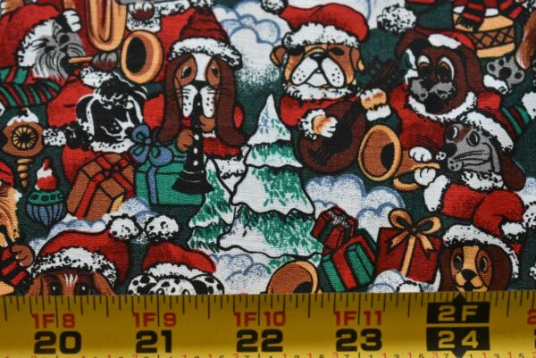 By 1 2 Yd Red Green Brown Santa Dogs on Quilt Fabric Spectrix Pantera N4009 $4.74