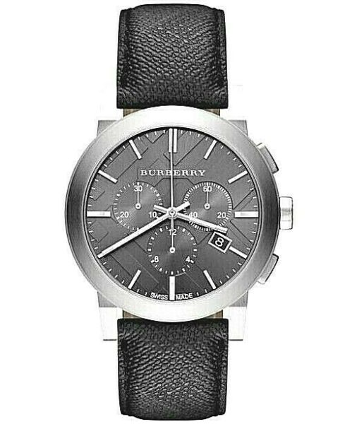 Brand New Burberry BU9362 Chronograph Dial Steel Case Leather Strap Men#x27;s Watch $189.99