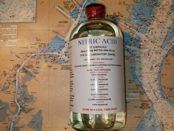 DT NITRIC 70% ACID 32ozGLASS BOTTLE HIGH PURITY HNO3 FOR GOLD REFINING $61.00