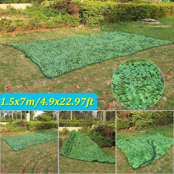 Woodland Camouflage Netting Military Camo Hunting Shooting Hide Cover Net 1.5x7m