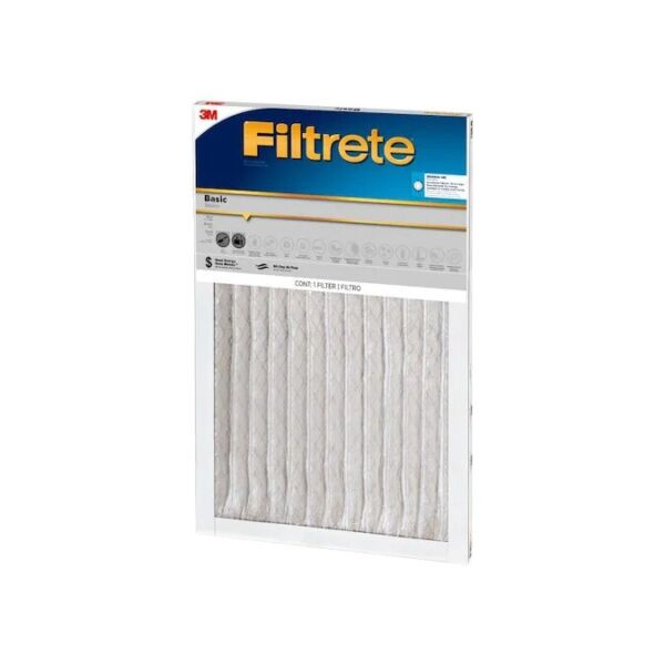 FILTRETE BASIC 3M AIR FURNACE FILTER WHITE PLEATED 3 PACK 9 MONTHS SUPPLIES NEW $24.45