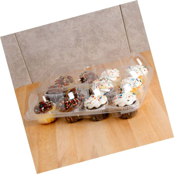 5 Cupcake Containers Plastic Disposable High Dome Cupcake Boxes 12 Compartm...