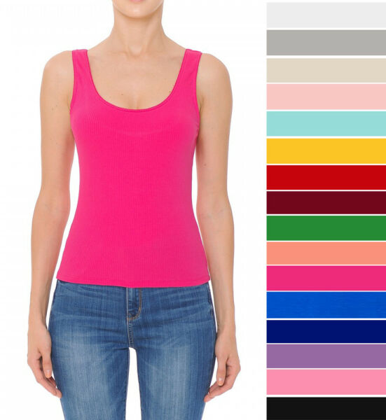 Women's Scoop Neck Tank Top Stretch Knit Cotton Solids Sleeveless Basic Casual