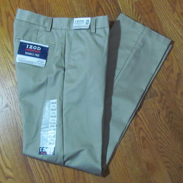 Izod American Chino Mens Flat Front Slim Fit Wrinkle Free Khaki Pants 29 X 32