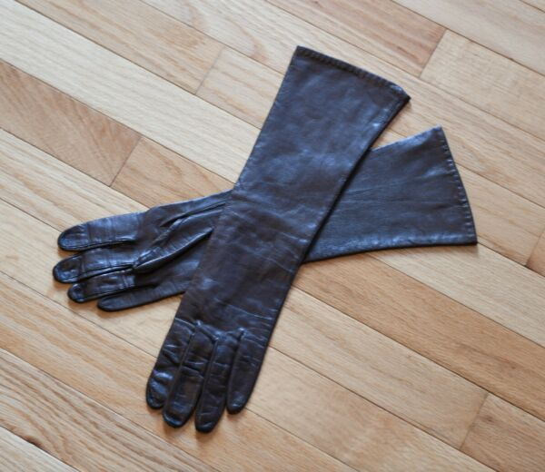 Vintage Lanolav Sexy Chocolate Brown Leather Mid-Arm Gloves Size 7 12 USA Made