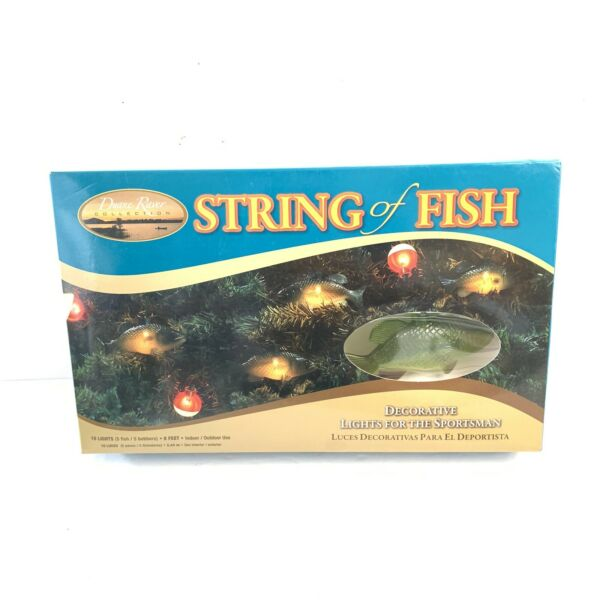String of Fish Decorative Lights Bass Bobbers Christmas Indoor Out RV Awning