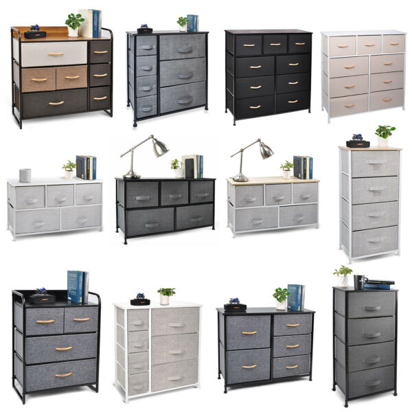 Cerbior Bedroom Storage Dresser Tower Shelf Organizer BinsCabinet Fabric Drawers $64.99