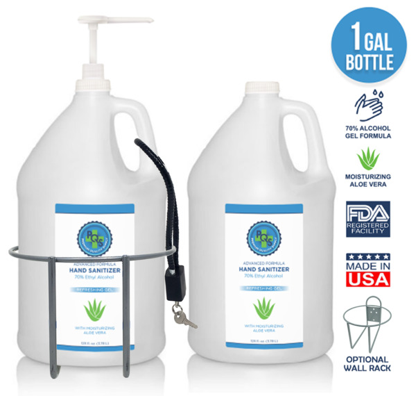 Hand Sanitizer Gel 1 Gallon - 70% Alcohol + Aloe & Lemon ✓ Opt Wall Rack + Lock