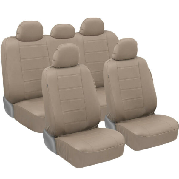 carXS Luxurious PU Leather Car Seat Covers Full Set Front amp; Rear in Tan Beige $39.99