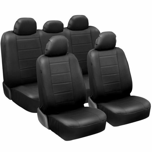 carXS Faux Leather Full Set Car Seat Covers Front amp; Rear in Black $39.50