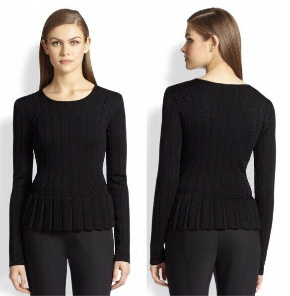 St. John Cable Knit Crew Neck Sweater Peplum S Wool Pullover Retro Office Small