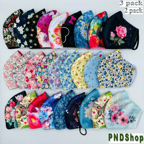 2 PACK3 PACK Face Mask FLOWER COLLECTION cotton fabric Washable 3-Fly Women M
