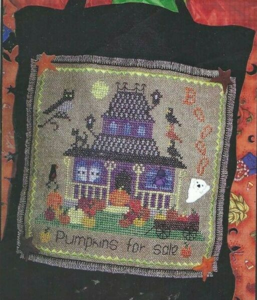 PUMPKINS FOR SALE-TREAT BAG-Halloween-Haunted House-Counted Cross Stitch Pattern