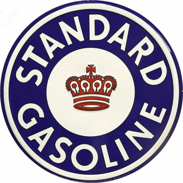 Standard Gas 24quot; Round Embossed Tin Metal Sign