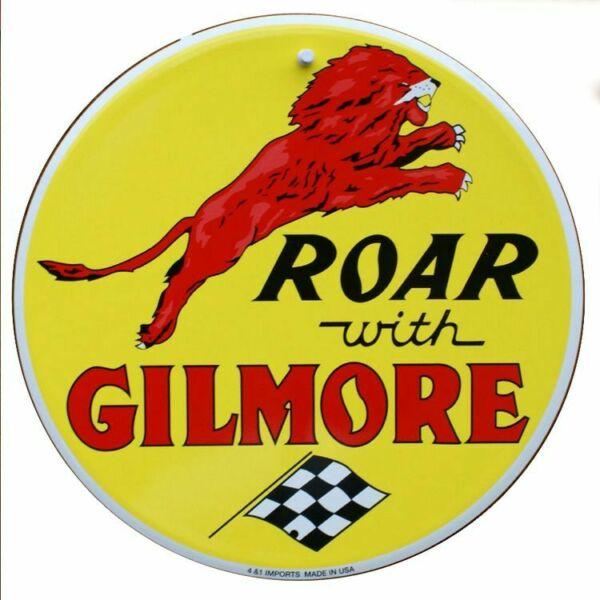 Gilmore Gas 24quot; Round Embossed Tin Metal Sign