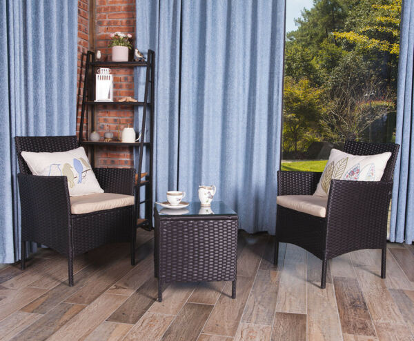 UFI 3 PCS Outdoor Patio Furniture Set Rattan Wicker Chairs amp; Table Black
