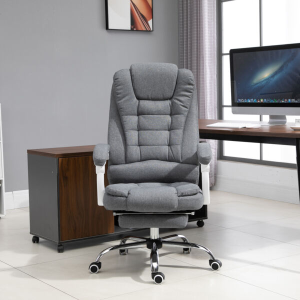 Vinsetto Office Chair with Retractable Footrest Height Adjustable with Armrests