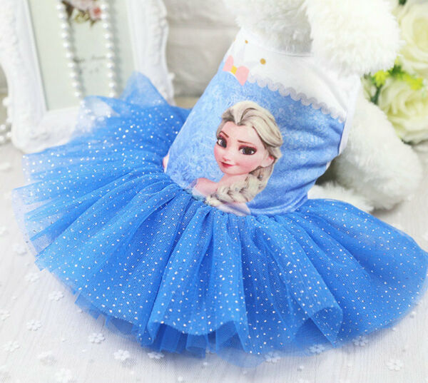 Cute Dog Tutu Dress Pet Dog Cat Frozen Princess Elsa Skirt Summer Apparel Outfit $6.99