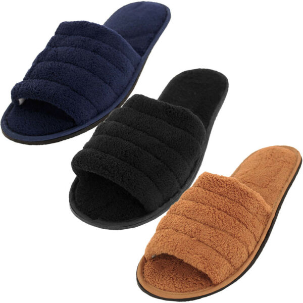 Mens Slippers Open Toe House Shoe Slip On Scuff Bath Soft Terry Cloth Flex Sole $9.75