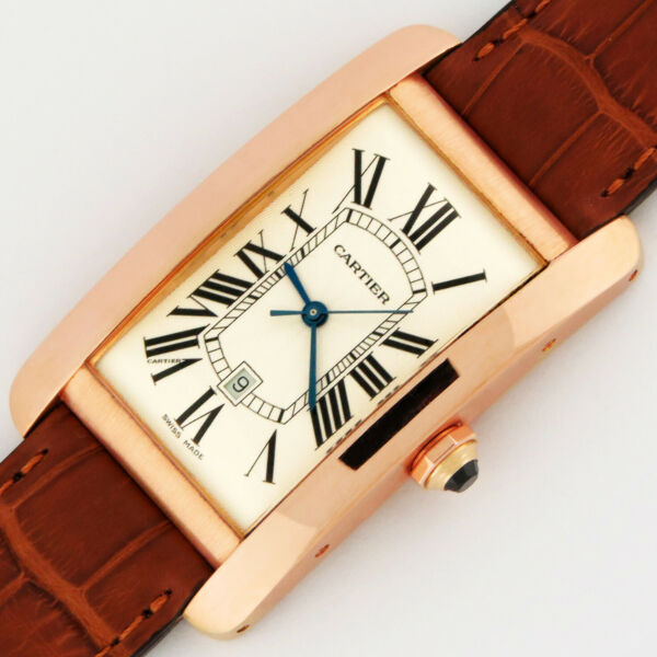 Cartier Tank Americaine Large Model Automatic 18K Pink Gold W2609156 Watch 2505 $7,500.00