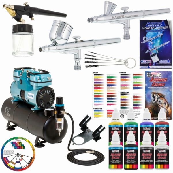 3 Master Airbrush 14hp Twin-Piston Air Compressor 6 Color Acrylic Paint Set