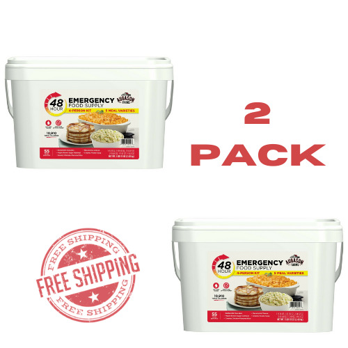 Survival Food Supply Emergency Kit Storage Prepper Bucket 48 HR Rations 2 PACK