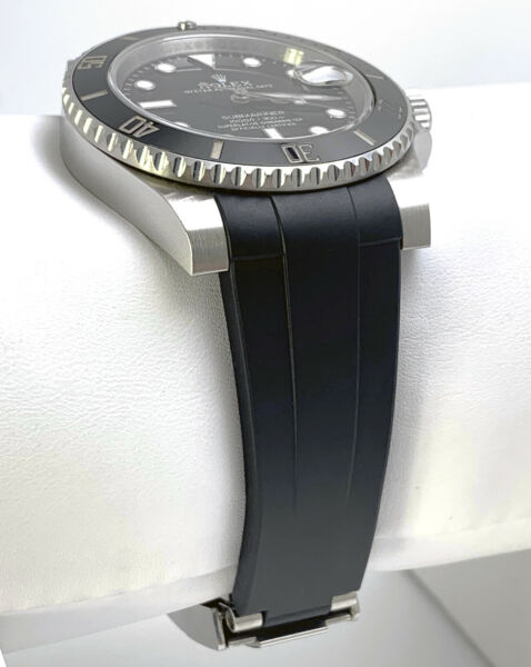 20mm Black Curved End Rubber Strap Band for Rolex Submariner Daytona GMT w CLASP