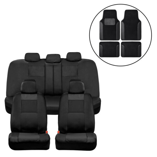 Car Seat Covers Black PU Leather Front Back Set with Black Carpet Floor Mats