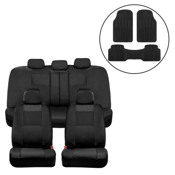 Car Seat Covers Black PU Leather Front Back Set with Black Rubber Floor Mats