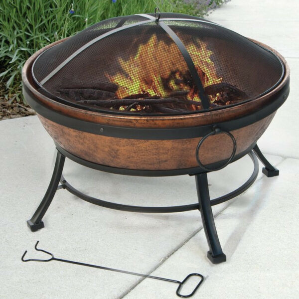 Outdoor Fire Pit Round 31 Inch Bowl Wood Burning Fireplace Antique Bronze Copper